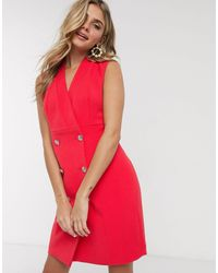 Morgan Robe croisée style smoking - Corail coquelicot - Rouge