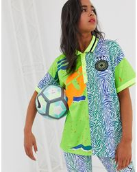 ASOS 4505 - Football T-shirt With Collar In Spliced Pattern - Lyst