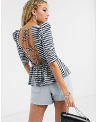 TOPSHOP Gingham Puff Sleeve Blouse - Blue