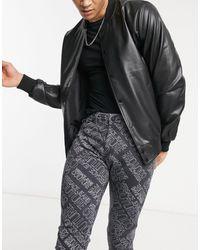 Versace Jeans Couture Черные Зауженные Джинсы Со Сплошным Принтом Логотипа Couture-черный Цвет