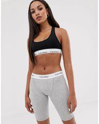 Calvin Klein Серые Хлопковые Леггинсы-шорты С Логотипом На Поясе Modern Cotton-серый - Многоцветный