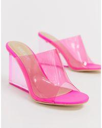 Public Desire Ярко-розовые Прозрачные Мюли На Танкетке Maliboo-розовый
