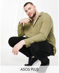 ASOS Plus - Camicia comoda - Verde