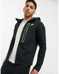 Nike Худи Из Технологичного Флиса Черного Цвета На Длинной Молнии Tech-черный Цвет
