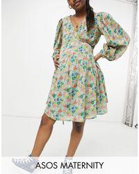 ASOS - Asos Design Maternity Long-sleeved Tie Wrap Around Mini Skater Dress - Lyst