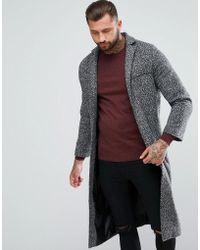Boohoo - Long Duster Coat In Dark Grey - Lyst