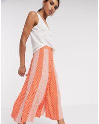 Y.A.S Midi Skirt With Button Through - Orange
