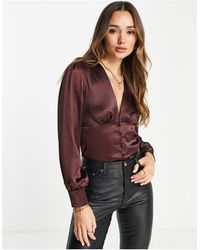 Flounce London Satin Blouse With Buttons - Brown