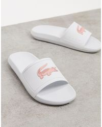 Lacoste Бело-розовые Шлепанцы С Логотипом -белый