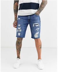 Levi's 511 Slim Fit Low Rise Cutoff Distressed Denim Shorts - Blue