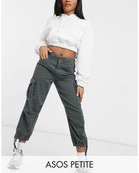 ASOS Asos Design Petite Cargo Trousers With Utility Pocket - Green