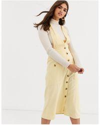 Warehouse Robe chasuble mi-longue en lin avec boutons sur le devant - Citron - Jaune