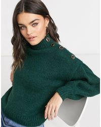 Vero Moda - Maglione premium verde scuro con bottoni - Lyst