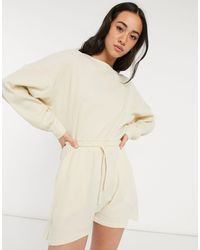 ASOS Knitted Playsuit - Natural