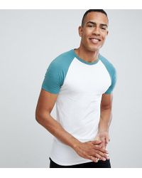 ASOS - Design Tall Muscle Raglan T-shirt With Contrast Sleeves - Lyst
