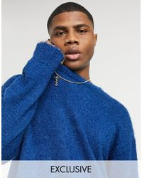 Reclaimed (vintage) Inspired Oversized Textured Sweater - Blue