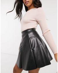 ASOS Leather Look Flippy Mini Skirt - Black