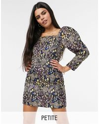 Y.A.S Petite Mini Dress With Square Neck And Balloon Sleeves - Multicolour