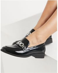 Glamorous Loafers With Diamante Detail - Black