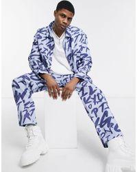 Jaded London Co-ord Grafitti Printed Denim Jacket - Blue