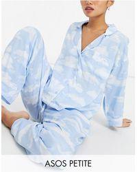 ASOS Эксклюзивная Пижама Голубого Цвета Из 100% Модала С Футболкой И Брюками С Принтом Облаков - Синий