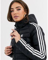 adidas Originals Three Stripe Slim Padded Jacket - Black