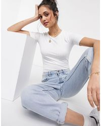 Miss Selfridge Short Sleeve Rib T-shirt - White