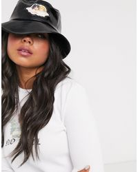 Fiorucci Vinyl Bucket Hat With Angel Patch - Black