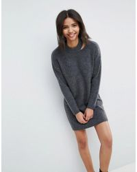ASOS - Knitted Dress With Cut Out Neck Detail - Lyst