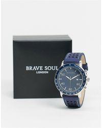Brave Soul Часы С Черным Кожаным Ремешком -черный - Синий
