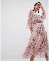 Liquorish - Leaf Printed Midi Dress - Lyst