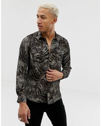 River Island Shirt With Tiger - Brown