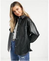 Pull&Bear Черная Куртка В Рубашечном Стиле Из Искусственной Кожи -черный - Многоцветный