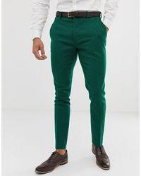 ASOS Bruiloft - Superskinny Pantalon Van Groene Keperstof