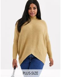 Simply Be High Neck Ribbed Sweater - Natural