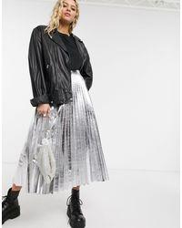 TOPSHOP Faux Leather Pleated Midi Skirt - Metallic