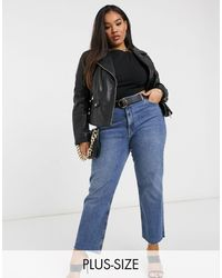 River Island Leather Biker Jacket With Quilting - Black
