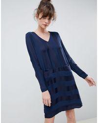 Ichi Свободное Платье В Полоску -темно-синий