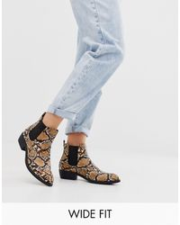 Park Lane Wide Fit Heeled Western Boots - Natural