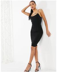 Vesper Черное Облегающее Платье Миди С Декоративной Лентой -черный Цвет