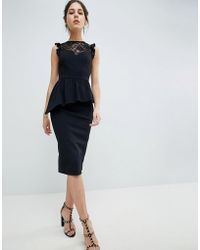 ASOS - Lace Mix Pencil Dress With High Neck - Lyst