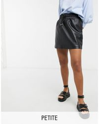 Topshop Unique Draw String Faux Leather Mini Skirt - Black