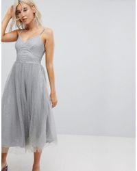New Look - Sparkle Mesh Midi Dress - Lyst