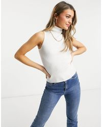 New Look Ribbed Knit Sleeveless Roll Neck Vest - White