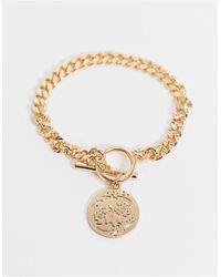 ASOS Bracelet With Coin T Bar - Metallic