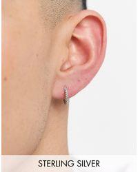 Serge Denimes Sterling Silver Hoop Earring With Twist Engraving - Metallic