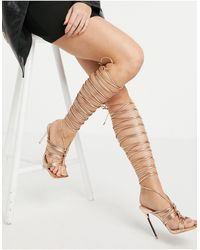 SIMMI Shoes Золотисто-розовые Босоножки На Высоком Каблуке С Ремешками Вокруг Голени Simmi London-золотистый - Многоцветный