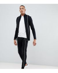 ASOS - Tall Tracksuit Muscle Track Jacket/super Skinny joggers With Piping In Black - Lyst
