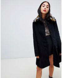 40d46fdd63c6 Love Moschino - Leopard Faux Fur Collar Swing Coat - Lyst
