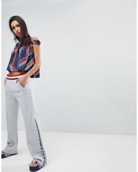 Tommy Hilfiger Gigi Hadid Zip Flare Tracksuit Bottoms With Stipe Waistband - Gray